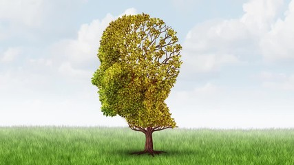 Wall Mural - Alzheimer memory loss and brain aging