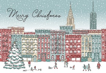 Hand drawn illustration of a New York in winter at Christmas time, with small people, snowflakes and Christmas tree