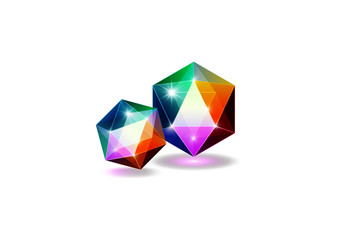 Colorful gemstone, logo jewels and crystals, vector illustration isolated