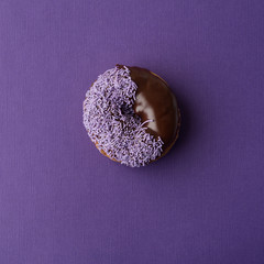 donut on coloured background