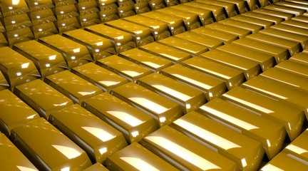 Stacks of yellow gold bars. 3D render.