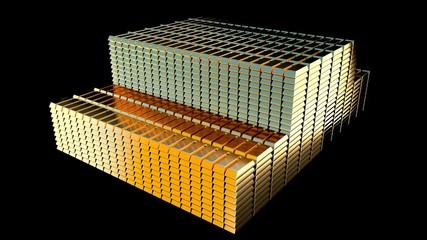 Stacks of gold bars. 3D render.