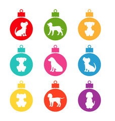 Colorful Christmas Balls with Different Dogs