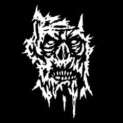 Creepy demon face. Vector illustration.