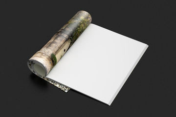 Blank magazine pages with glossy paper isolated