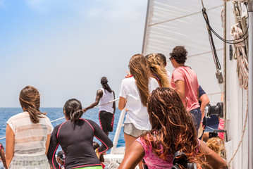 A group of people on a yacht, Saona island, Dominican Republic. Copy space for text.
