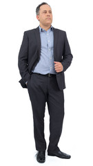 Full body image of businessman. He is wearing social clothing. Suit and social shirt..
