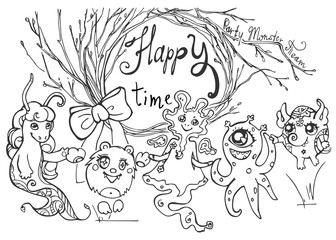 Card with friendly monsters, tree branches and text