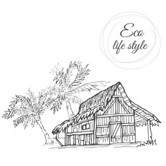 House under palm trees with thatched roof in the style of the sketch