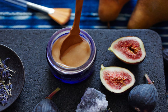 Close-up of pear and fig facial mask with ingredients