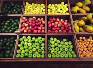 Fruit grid in supermarket