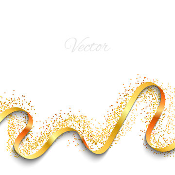 Abstract background. Yellow ribbon and confetti. Celebratory background. Gold. Vector.