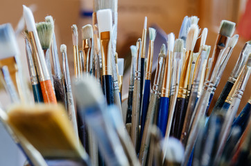 A collection of artist paintbrushes