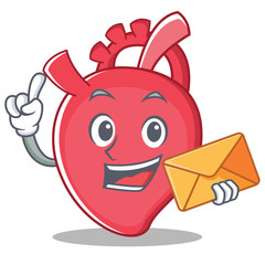With envelope heart character cartoon style