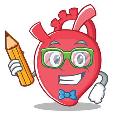 Student heart character cartoon style