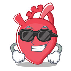 Super cool heart character cartoon style