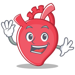 Waving heart character cartoon style