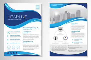 Template vector design for Brochure, Annual Report, Magazine, Poster, Corporate Presentation, Portfolio, Flyer, layout modern with  blue color size A4, Front and back, Easy to use and edit. Wall mural