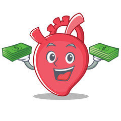 With money heart character cartoon style