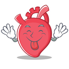 Tongue out heart character cartoon style