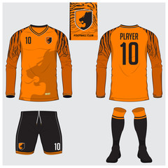 Long sleeve soccer jersey or football kit, short, sock template for sport club. Tiger stripes football t-shirt mock up. Front, back view soccer uniform. Flat football logo label. Vector Illustration.