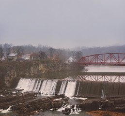 Foggy View of Hill Street Bridge and Cantine Dam Falls