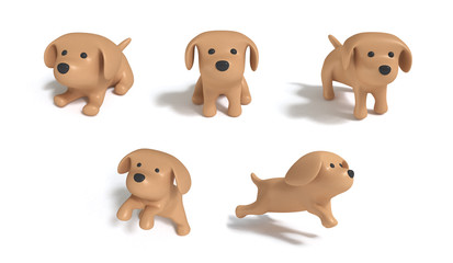 five acting brown dog cartoon style white background 3d rendering