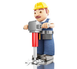 3d Worker with a jackhammer working on a construction