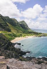 Beach on a bay in exotic tropical island - Oahu, Hawaii, USA