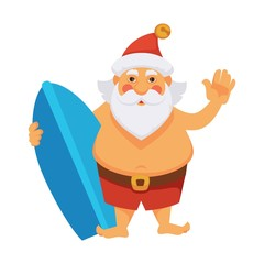 Santa summer vacations ocean surfboard daily Christmas life cartoon character vector icon