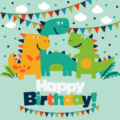 Happy birthday - lovely vector card with funny dinosaurs