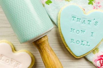 """""""That's how I roll"""" cookie and rolling pin"""