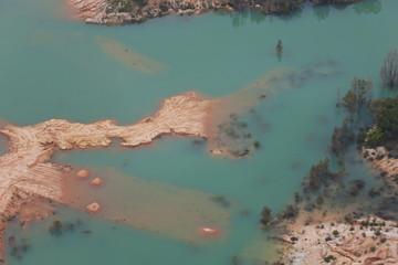 Aerial view of lake, Huelva Province, Spain