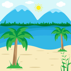Summer Beach Sunny - Vector Illustration, Holiday season landscape background