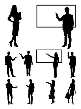Teacher, businessperson, presentation silhouette 02. Good use for symbol, logo, web icon, mascot, sign, or any design you want.