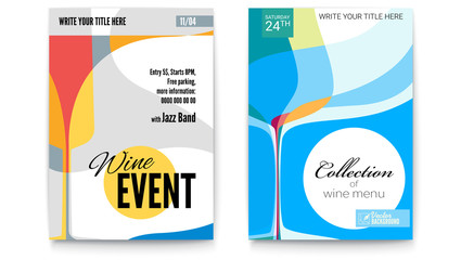 Template for Cocktail Party, Wine festival event or menu covers, A4 size. Vector template of poster, design layout for brochure, banner, flyer. Posters design with abstract graphic isolated on white