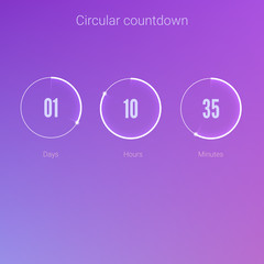 Clock application, UI elements. Design of countdown timer for coming soon or under construction action. Part of the User interface, circular counter. Template of digital clock