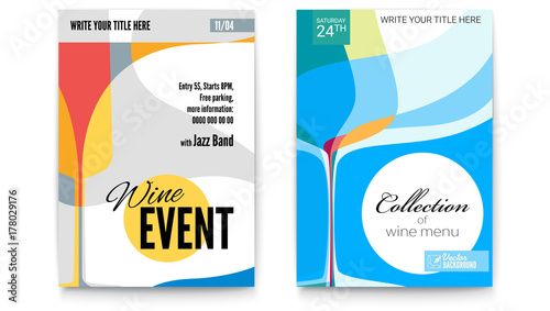 template for cocktail party wine festival event or menu covers a4