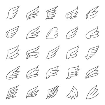 Wings line icon vector collection.
