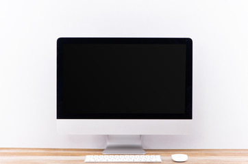 Work place concept. Mock up blank screen computer desktop