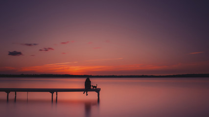Waiting by the Dock with Her Cat