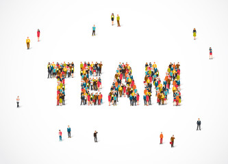 Group of people standing in the word Team