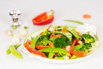 Mixed Veggie Stir-Fry with White Background