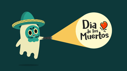 Cute ghost hearing a sombrero with his face painted with traditional decoration just found the announcement of Dia de los Muertos. Vector illustration