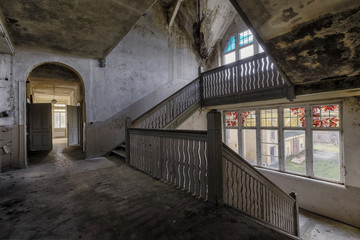 old abandoned wodden staircase