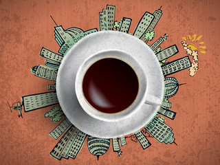 Coffee cup concept - city doodles with cofee mug