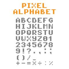 Pixel alphabet. Pixel font.