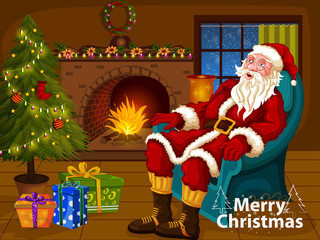 Santa Claus sitting in sofa near Decorated Pine tree near fireplace for Merry Christmas and Happy New Year