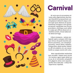 Carnival masks and costume accessory vector poster template