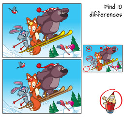 Bear, fox and rabbit are engaged in mountain skiing. Find 10 differences. Educational game for children. Cartoon vector illustration